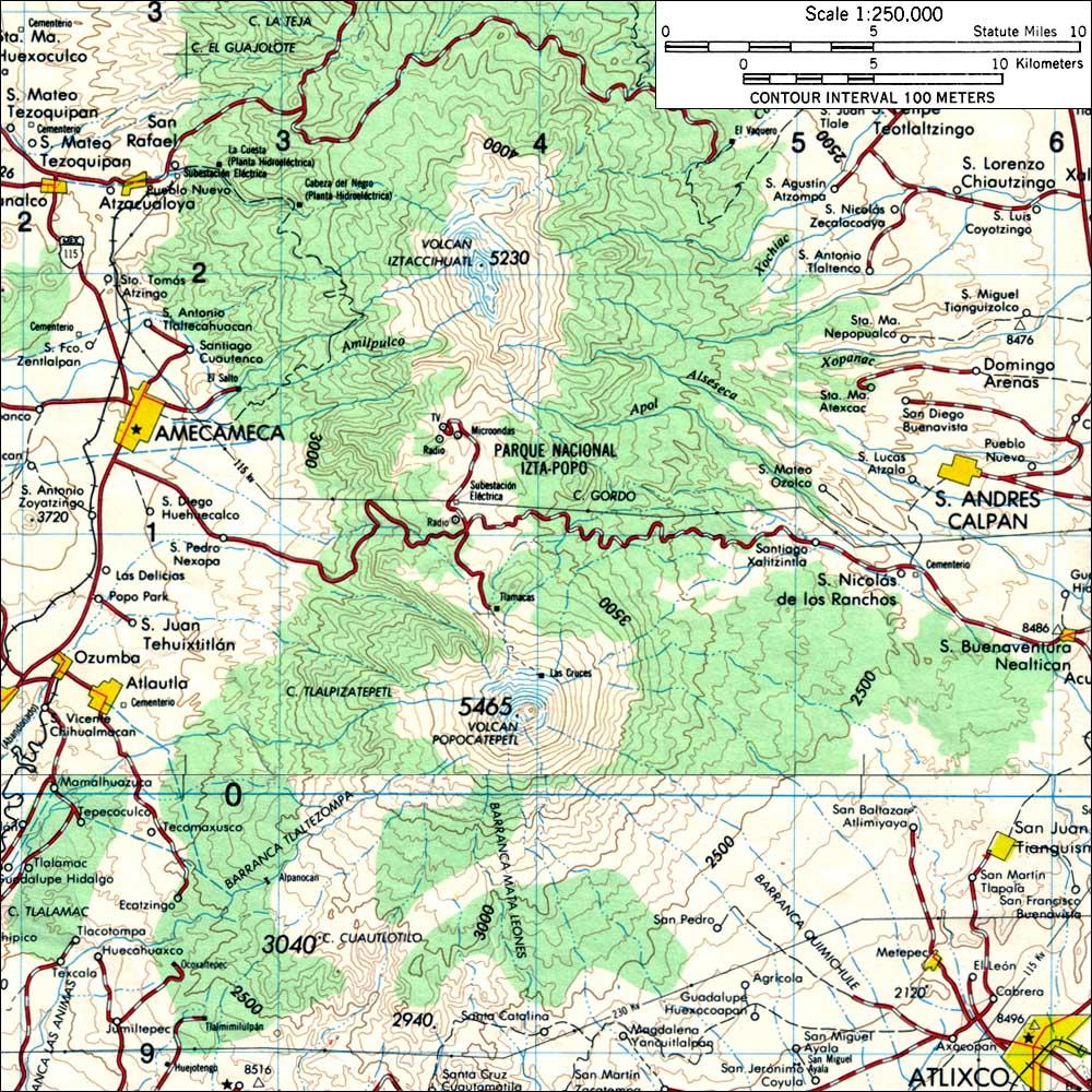 Iztlaccihuatl – Topographic Map Mexico